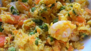 Closeup shrimp fried rice